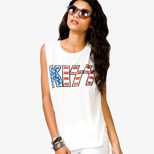KISS Red, White & Blue Graphic Tank Top